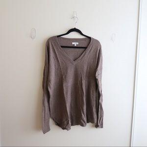 Taupe Oversized V-Neck Sweater